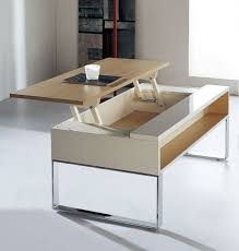 white and brown stained wood coffee tables that raise and lower adjule with lift