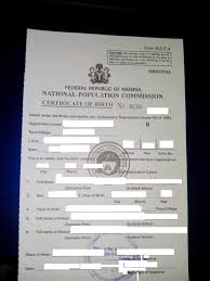 Nigerian Birth Certificate Needed From The National Population