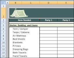 Spreadsheet Travel Camping Checklist Spreadsheet Day