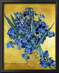 vase of irises against a yellow background c 1890 by van gogh for