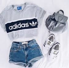 adidas outfits. shirt: adidas t- top addidas grey denim shorts crop tops outfits t
