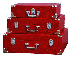Mock croc silver storage chests trunks set of 3   A Collection Of ...