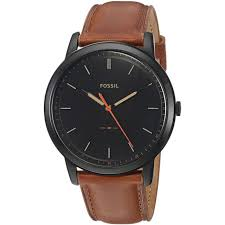 men s fossil minimalist 44mm leather strap watch fs5305