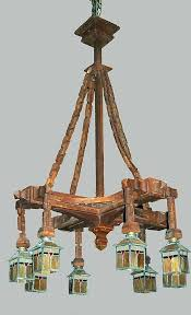 mission style chandelier chandelier carved wood craftsman arts crafts stained glass shades mission style outdoor lighting