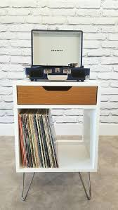 items similar to modern nightstand record player stand bedside table white end table mid century modern record storage hairpin leg drawer white oak