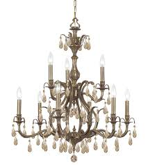 crystorama 5569 ab gt mwp dawson 9 light 30 inch antique brass chandelier ceiling light