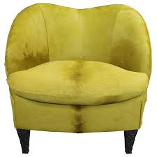 chic modern club chair in chartreuse hair on hide for
