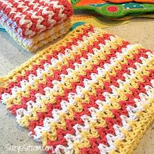 Zig Zag Crochet Pattern Simple Easy ZigZag Crochet Hand Cloths FaveCrafts