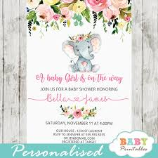 Pink Floral Elephant Baby Shower Invitations Girl D431 Baby
