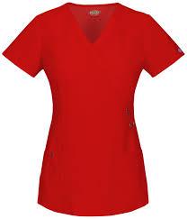 Dickies Mock Wrap Top Regular In Red From Dickies Medical
