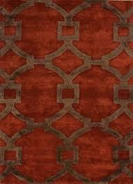 modern geometric red brown wool blend area rug regal modern geometric