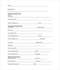 emergency contact template contact information form student emergency contact and