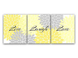 yellow wall decor for bedroom. Beautiful Decor Home Decor Wall Art Live Laugh Love Yellow Flower Burst Bathroom Intended For Bedroom T