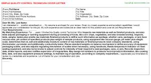 quality control technician cover letter