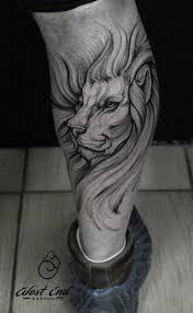 лев на ноге в стиле дотворк фото татуировок