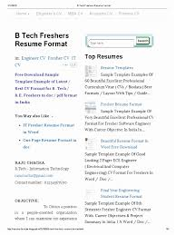 Resume Format For Engineering Freshers Pdf Template Easy Inside