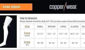Knee Sleeve Size Chart Copper Wear Knee Sleeve Auroragaragedoors Co