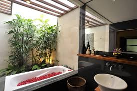 bathroom: Lovely Red Rose Petals In White Bathtub Inside Comfy Tropical  Bathrooms With White Sink