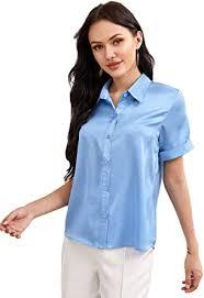 Milumia <b>Women Elegant</b> Short Sleeve <b>Satin</b> Shirt Button Up Solid ...