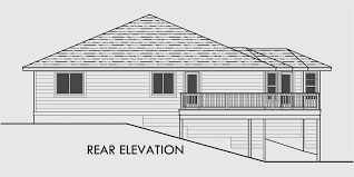 house rear elevation view for 10018 side sloping lot house plans walkout basement house plans