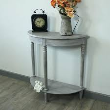 half moon entry table small foyer e design oak end round hall on glass