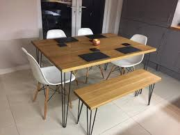 kitchen table. Solid Oak Dining Table Industrial Style Kitchen Table, Hairpin Legs M