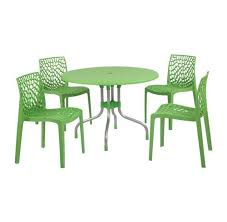 supreme beautiful green outdoor 4 chair 1 round table set