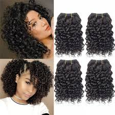 Curly Hair 8 Inches 4 Bundles Short Human Hair Kinky Curly Wave Brazilian Virgin Huamn Hair 50