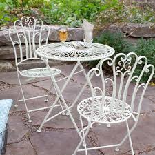 metal bistro set. 3-Piece Folding Metal Outdoor Patio Furniture Bistro Set In Matte Ivory White N