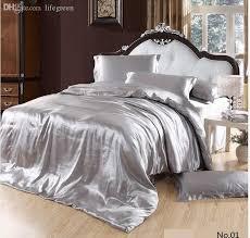 whole silver satin silk grey bedding set california king queen size quilt duvet cover brand sheet bed bedsheet bedspread bedsheet yellow comforter set