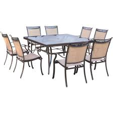 hanover fontana 9 piece aluminum square outdoor dining set with glass top table