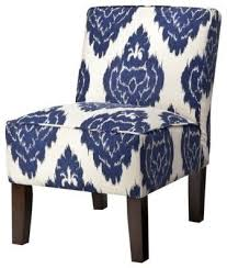Blue Patterned Chair Enchanting Armless Upholstered Slipper Chair Abstract Blue Floral