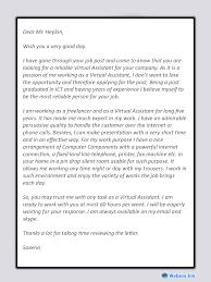 Cover Letter For It Assistant Virtual Assistant Cover Letter Best Sample For Va Webson Job