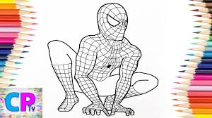 Draw a curved line below the circle, attached to it on each side. Spiderman Coloring Pages Spiderman Was The First Superhero I Started To Color On My Channel Youtube