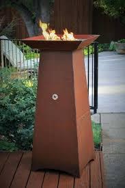 inch tall gas fueled garden torch cor ten steel construction fire bowl outdoor column pipestone target