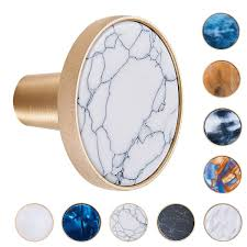 Teci Brushed Brass Inlaid Marble Cabinet Knobs Pack Of 3