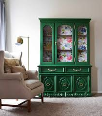 painted green furniture. DIY Painted Springtime Green China Cabinet | Country Chic Paint Floral And Furniture