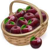 apple basket clipart. basket with apple; red apple illustration clipart