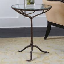 uttermost sadira cast iron accent table round tempered glass top weathered bronze finish 371