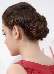tight multi braided bun with slight puff