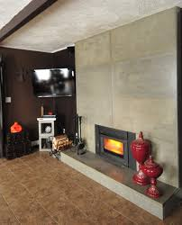 refacing an existing fireplace surround with modern concrete tiles contemporary living room