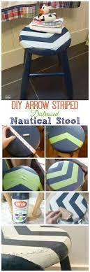 DIY Arrow Striped Distressed Nautical Stool