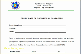 Certificate Of Good Moral Character New 7 Specimen Character