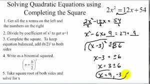 solving quadratic equations by completing the square examples with