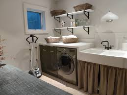 Bathroom:Modern Laundry Room Design In Rustic Style With Dark Wooden Laundy  Cabinet Built In