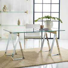 office desk glass. Brendell Metal Desk Home Office Desk, Glass Table, Gold And Silver Mixed E