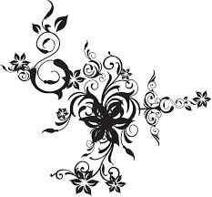 花のイラストフリー素材白黒モノクロno477白黒茎葉