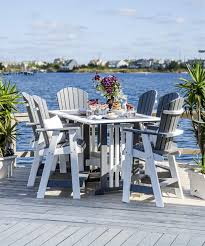 Amish made seven piece poly balcony pub set take outdoor dining to new heights with the amish made seven piece poly balcony pub set