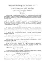 Реферат на тему Принцип организации работы районных судов РФ  Это только предварительный просмотр