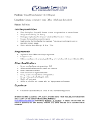 Visual Merchandiser Job Description Resume Retail Merchandiser